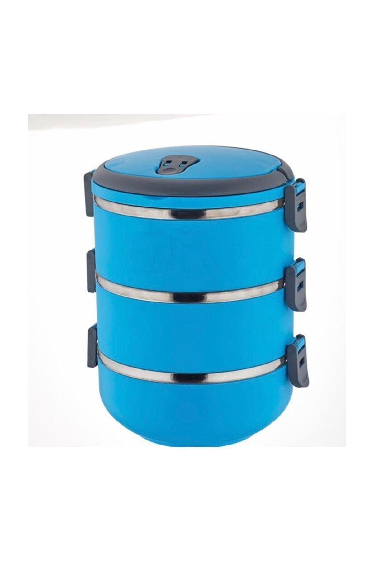 ELBA 3`lü Mandallı Sefer Tası Çelik Yemek Termosu - Mavi