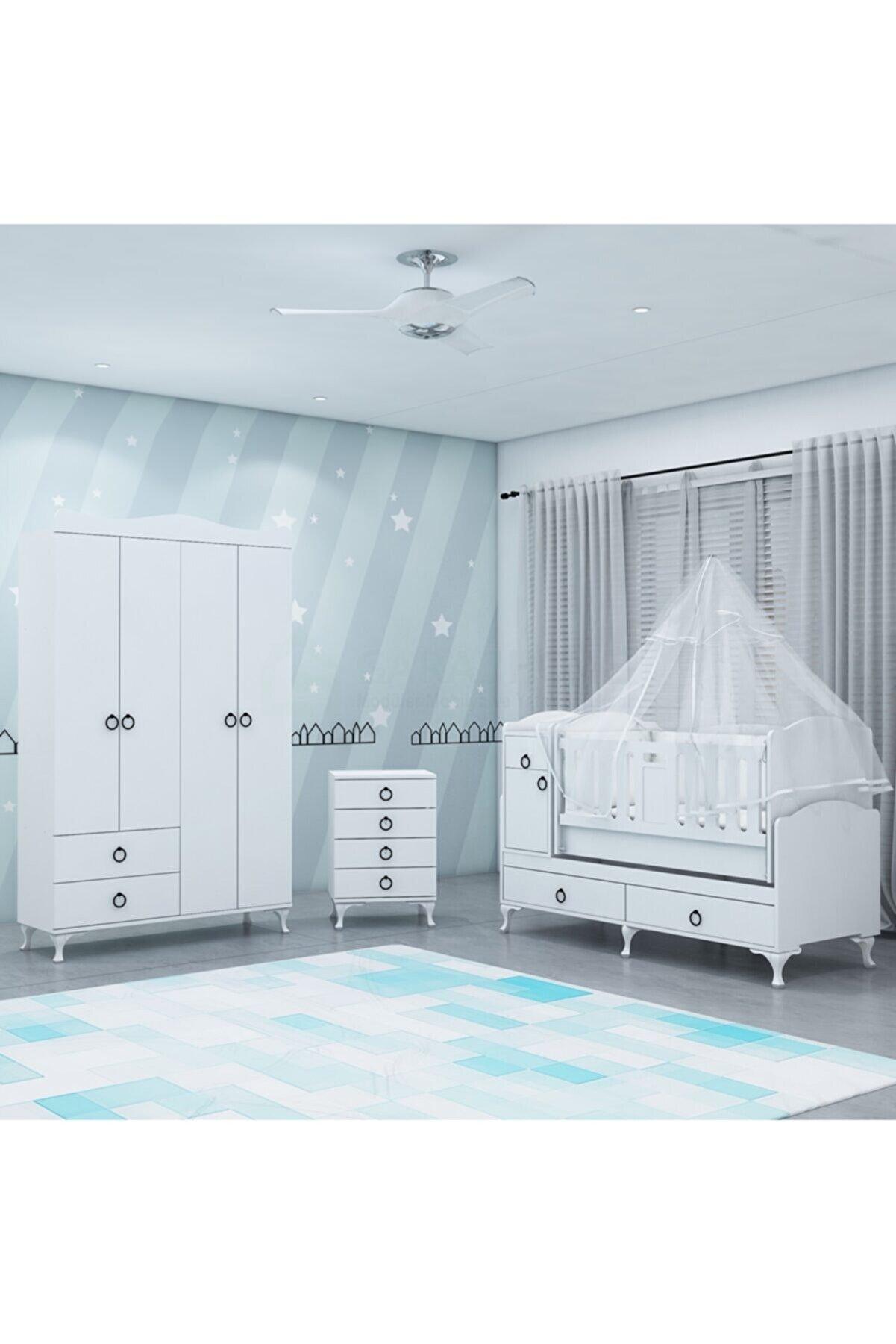 Garaj Home Sude Asansörlü Yıldız 4 Kapaklı Bebek Odası Takımı - Yatak Ve Uyku Seti Kombinli- Uykuseti Beyaz