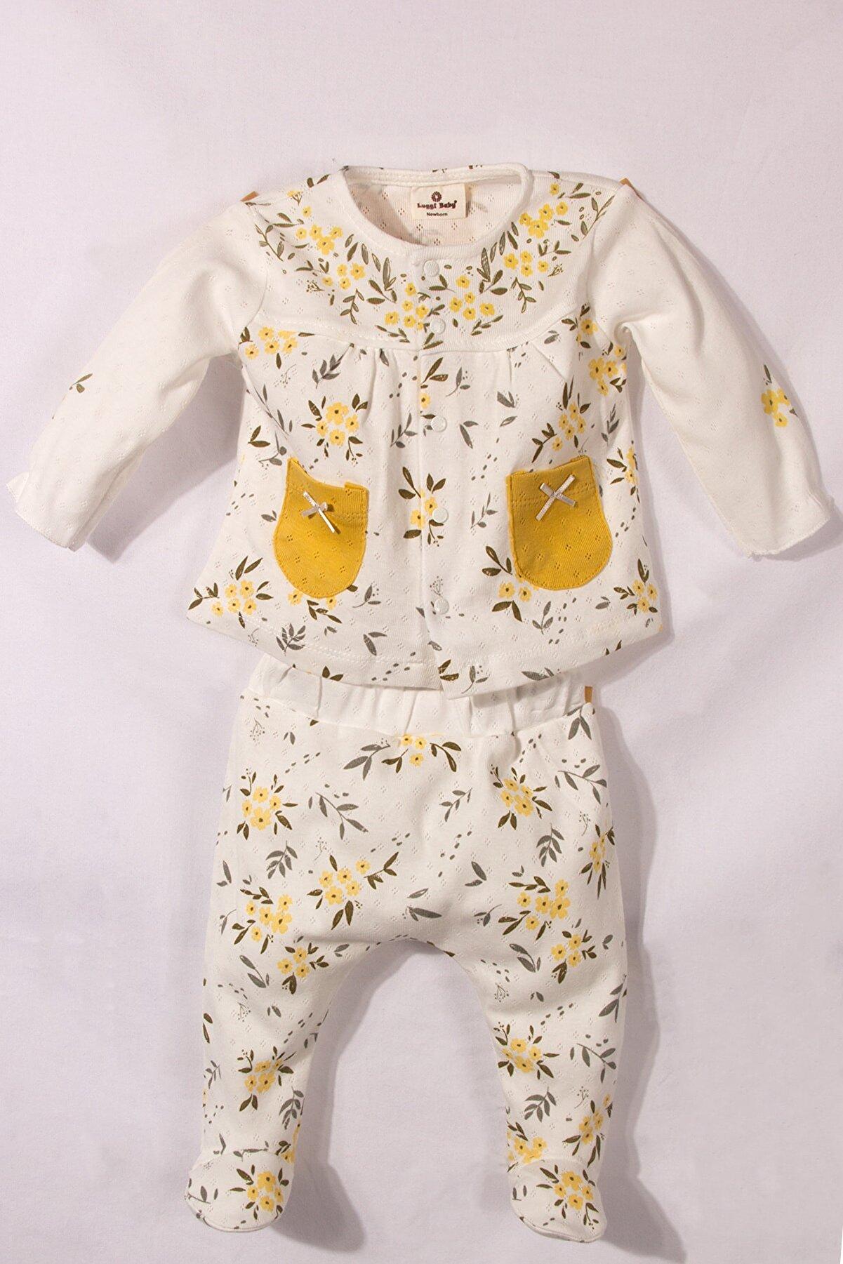 Luggi Baby Kız Bebek Beyaz Sarı Çiçekli Organik Pamuk Jakarlı 2'li Pijama Takımı