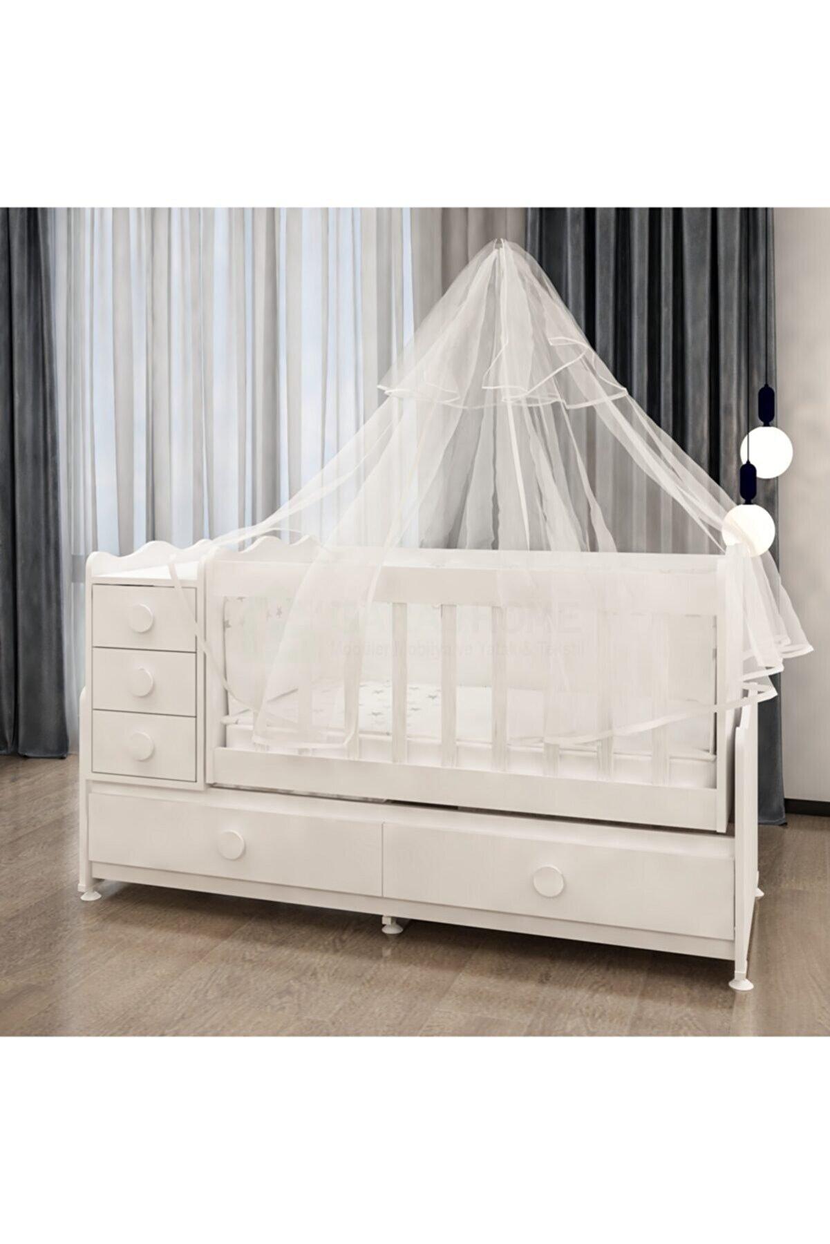 Garaj Home Melina Lüks Uyku Setli Beşik Kombini- Uykuseti Beyaz