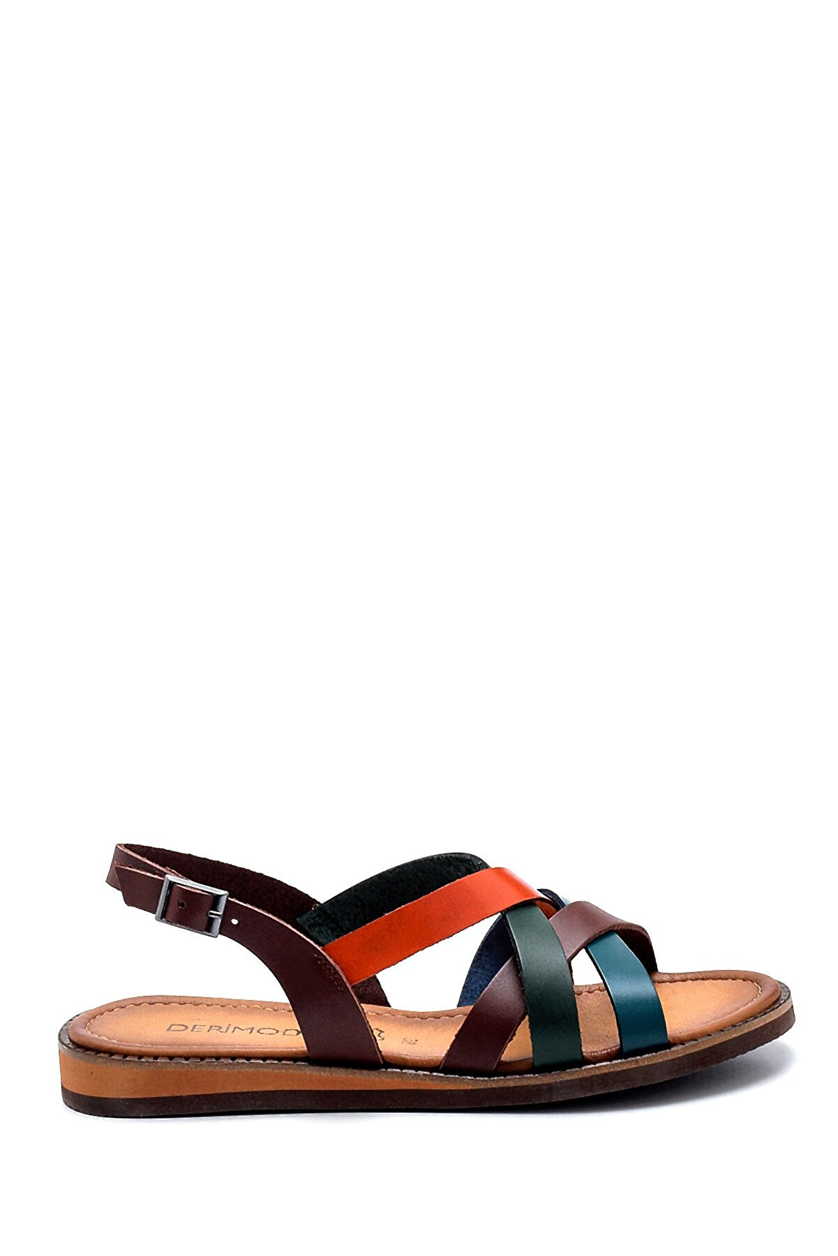 Derimod Kadın Kahverengi Deri Sandalet