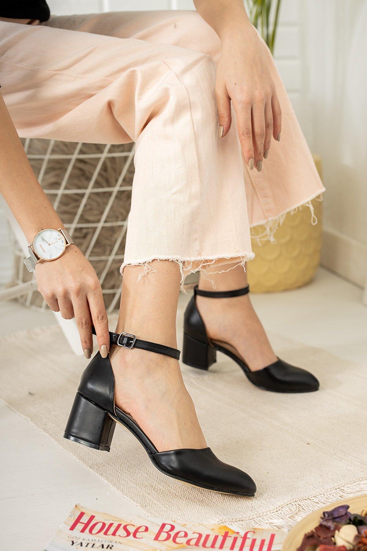 Tolgado Kadın Siyah Cilt Topuklu Yeni Klasik