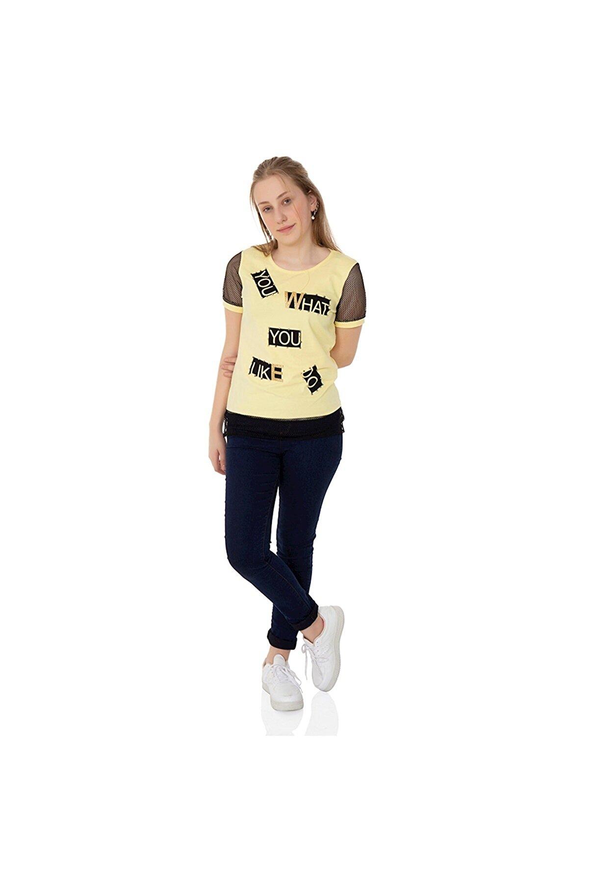 Toontoy Kız Çocuk Sarı Kolları Fileli Yazı Baskılı Tişört