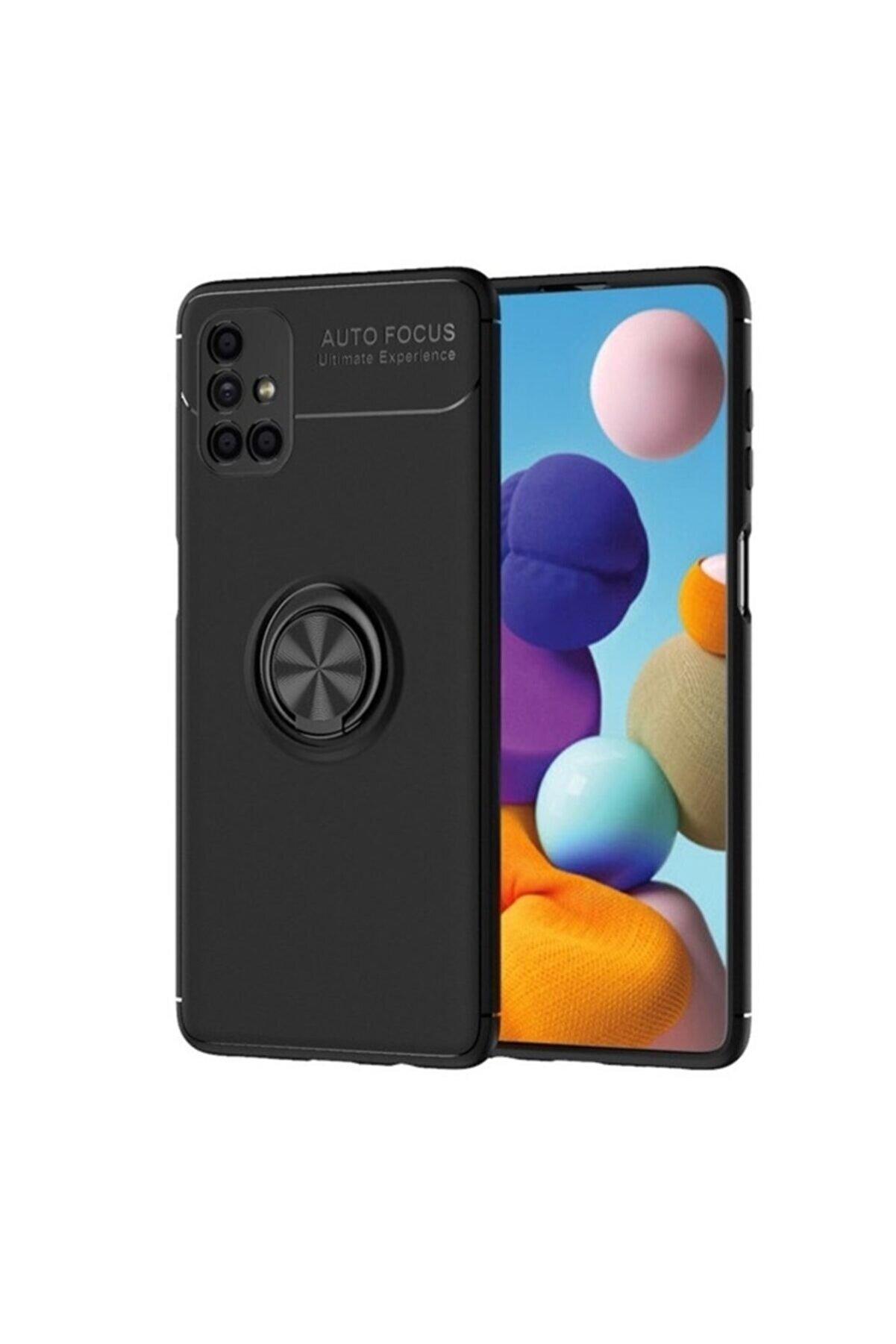 Samsung Teleplus Galaxy M51 Kılıf Ravel Focus Yüzüklü Silikon Siyah