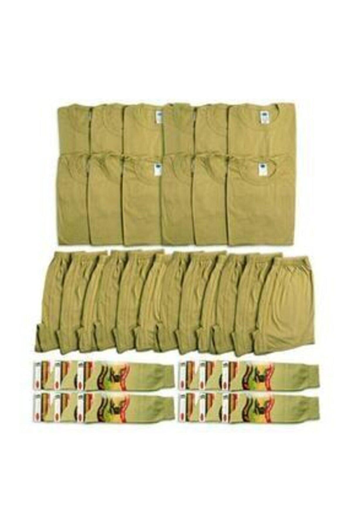 KUBİLAY ASKERİ MALZEME Erkek Haki Yeşil 12'li Asker Seti / Atlet-baksır-çorap