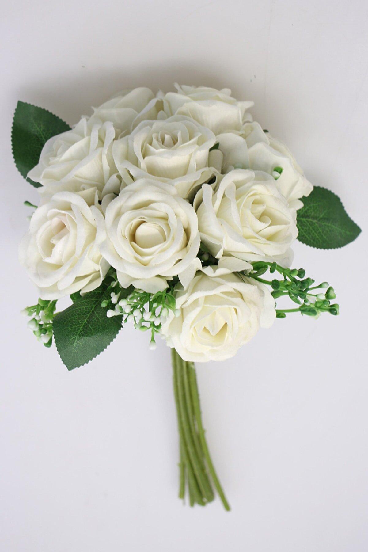 Yapay Çiçek Deposu Beyaz Yapay Çiçek 9'lu Kaliteli Kadife Gül Demeti 27 cm