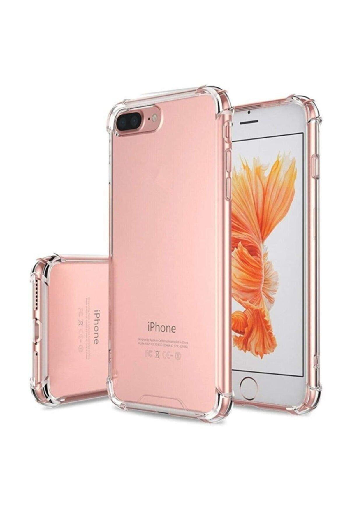 emybox Iphone 7 Plus 8 Plus Köşe Korumalı Şeffaf Silikon Darbe Emici Telefon Kılıfı +2 Adet Ekran Koruyucu