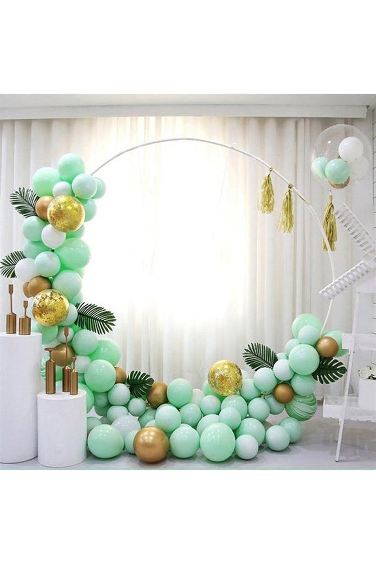 Aşkın Parti Evi Mint Yeşili Makaron Gold Krom Konfetili Balon Zincir Seti