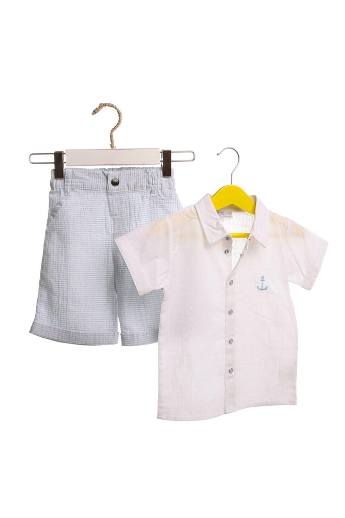 HelloBaby Yaz Erkek Bebek Çapa Gömlek-şort Takım