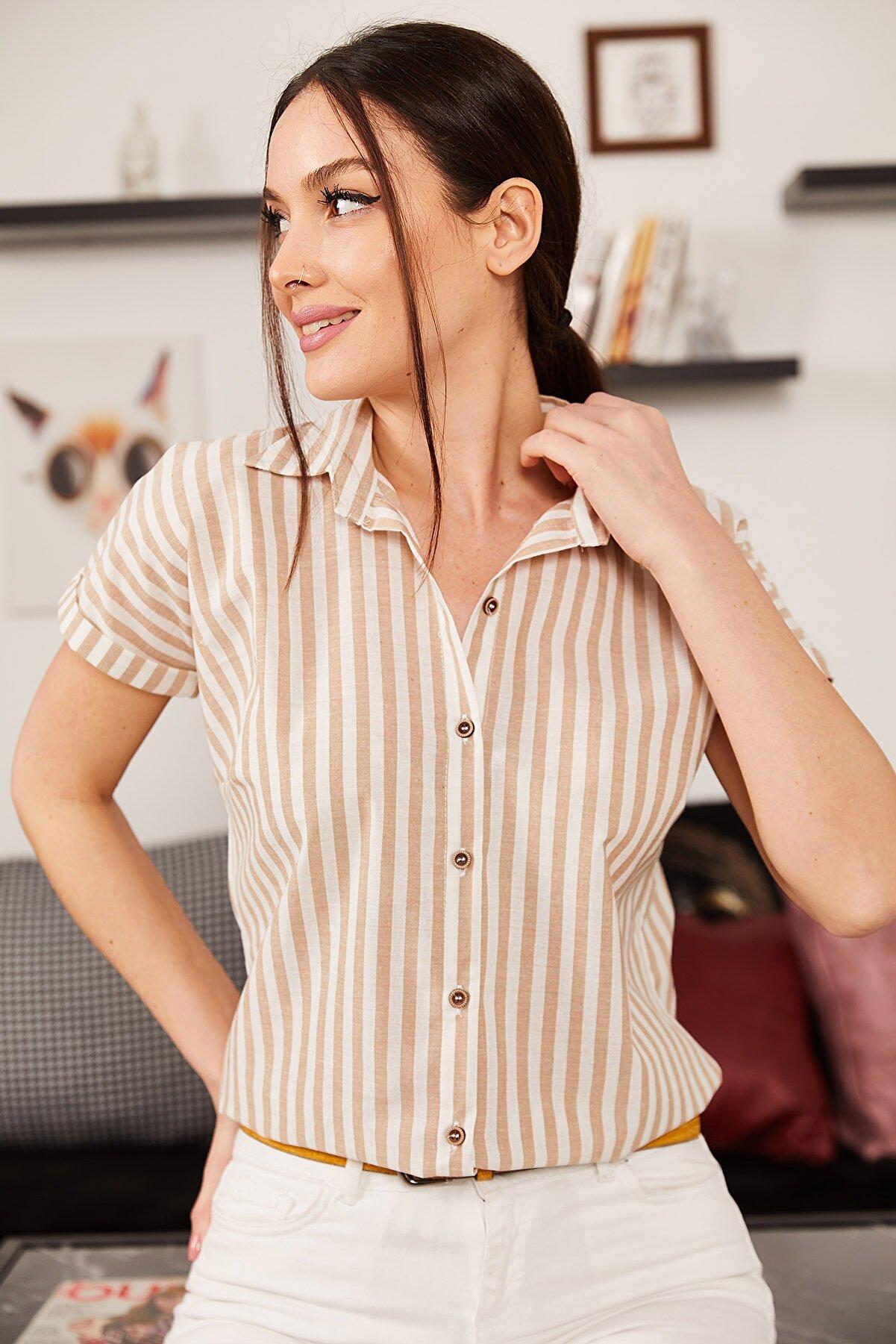 armonika Kadın Vizon İnce Çizgili Kısa Kol Gömlek ARM-21K001188