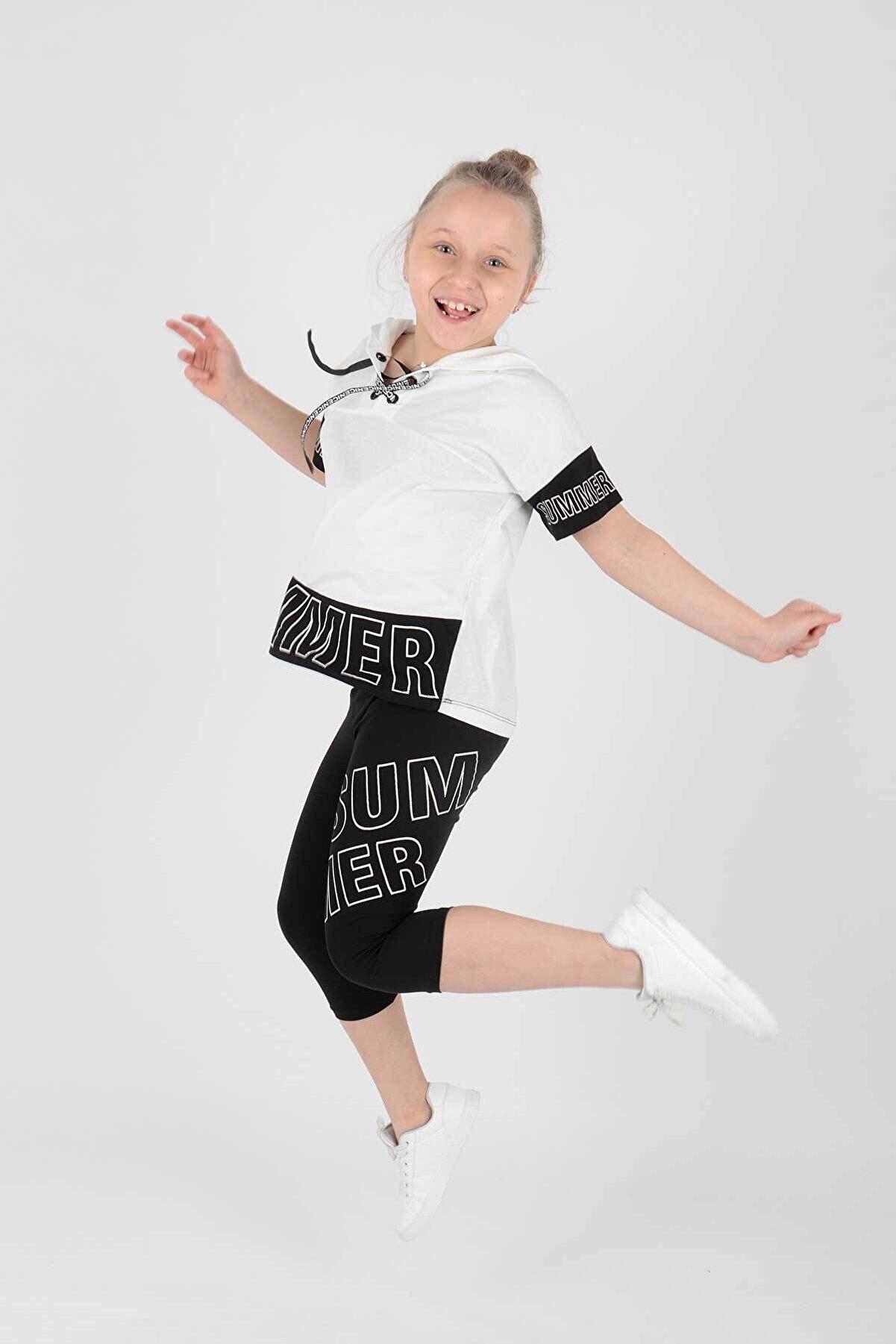 Ahenk Kids Ahenk Kıds Ak14196 Kız Çocuk Summer Baskılı Taytlı Takım