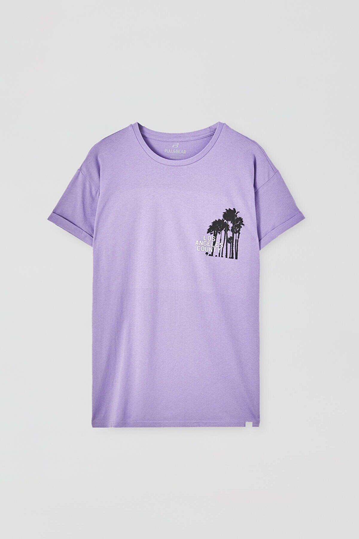 Pull & Bear Görselli Muscle Fit T-Shirt