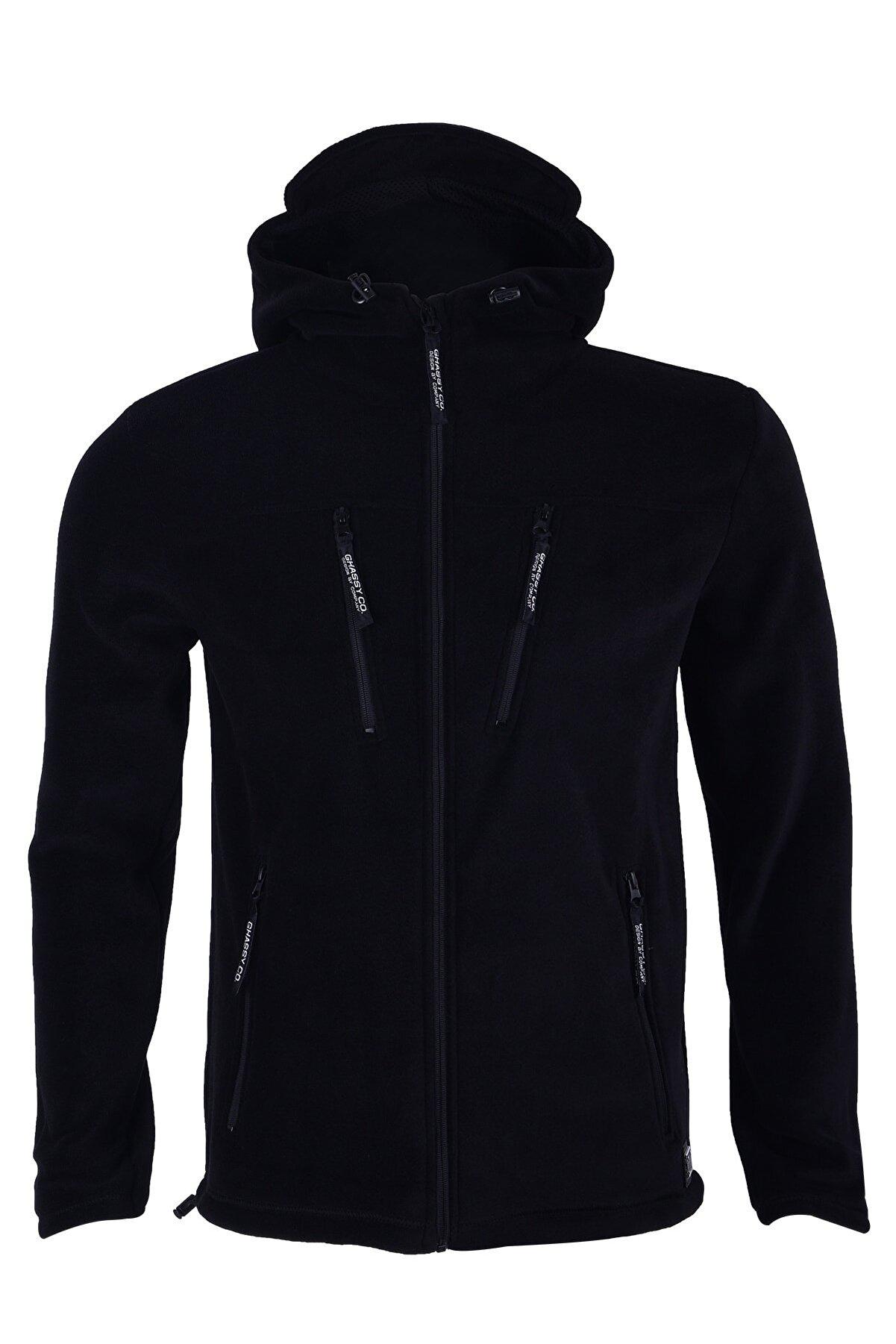 Ghassy Co Erkek Siyah Army Tactical Kapüşonlu Outdoor Polar Ceket