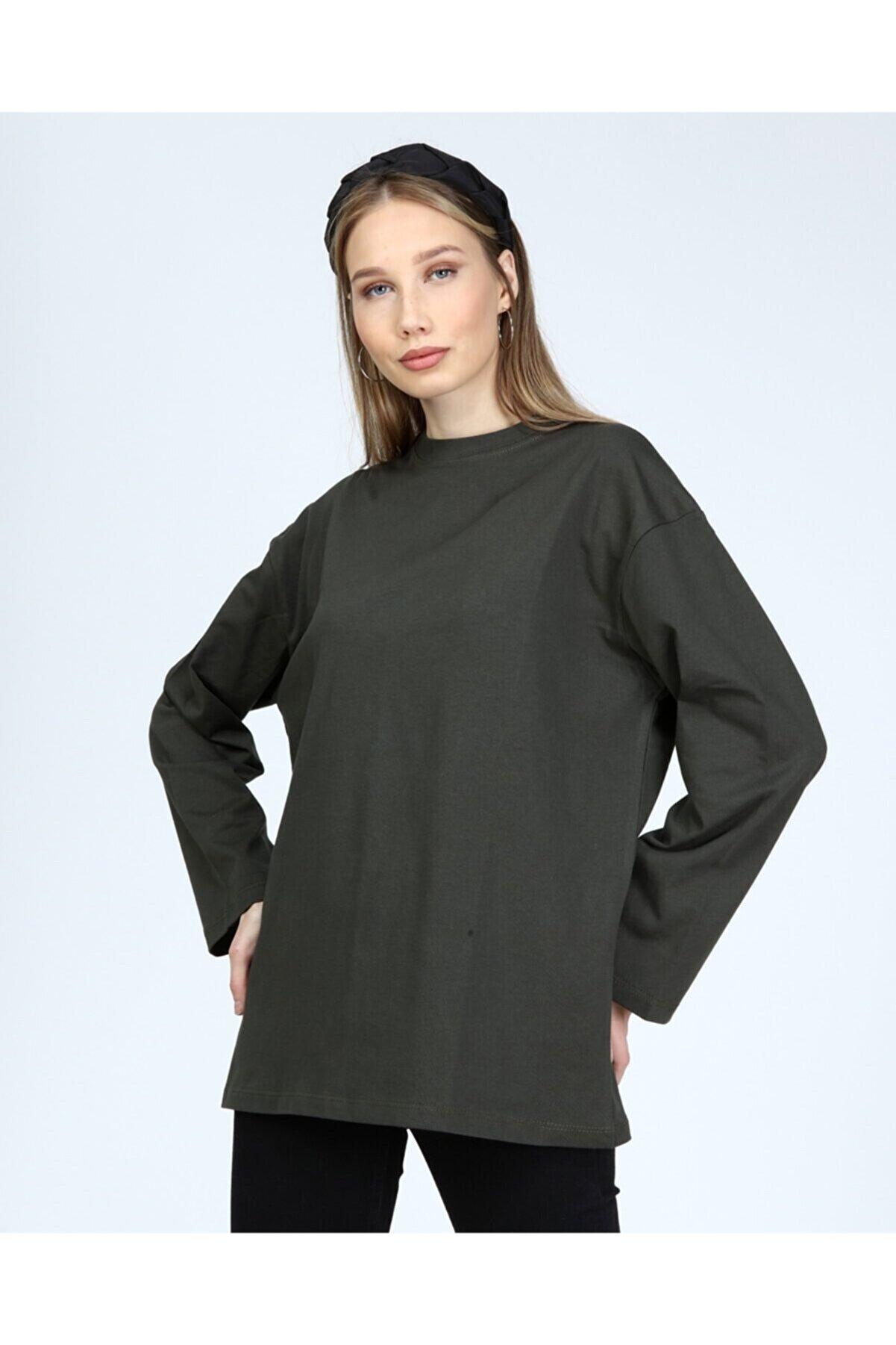 BASICA Kadın Haki Uzun Kollu Bisiklet Yaka Basic Oversize T-shirt