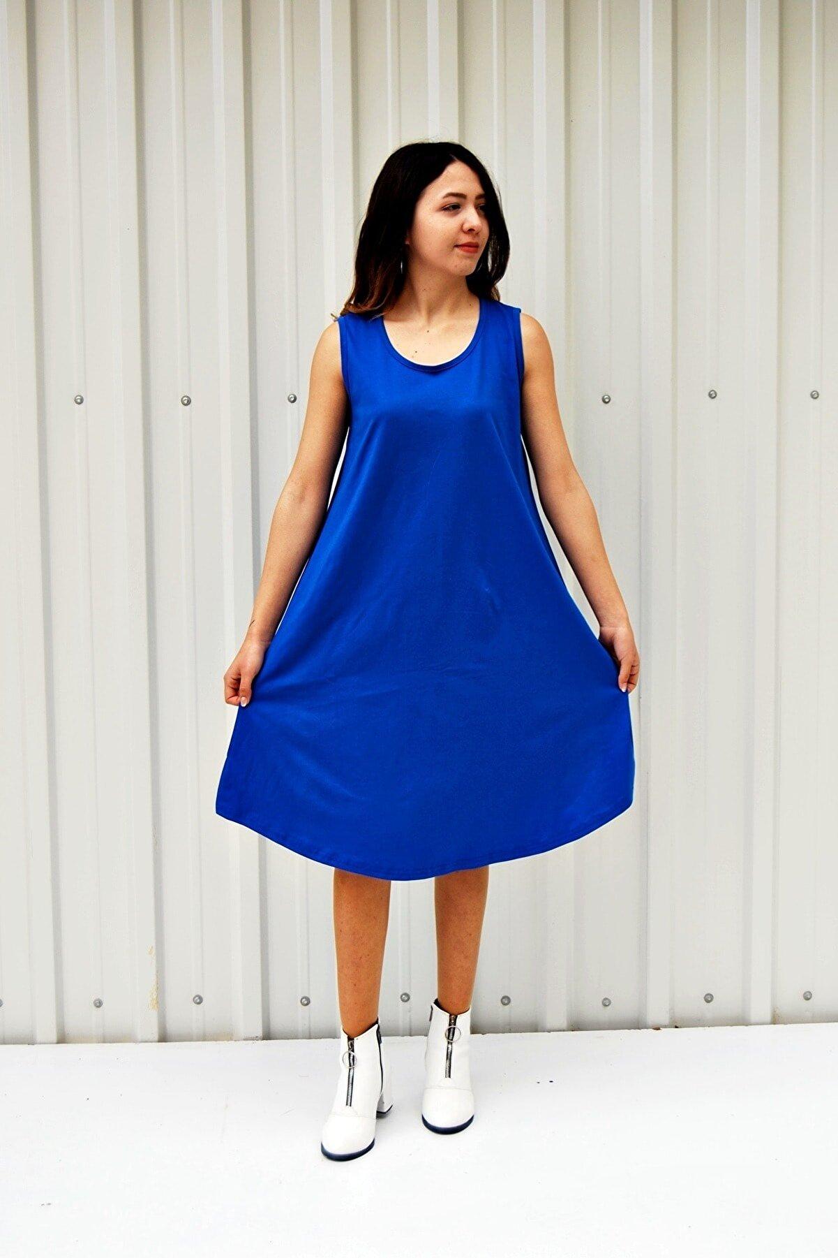 MGS LİFE Kadın Mavi Kolsuz Düz Renk Çan Etek Elbise