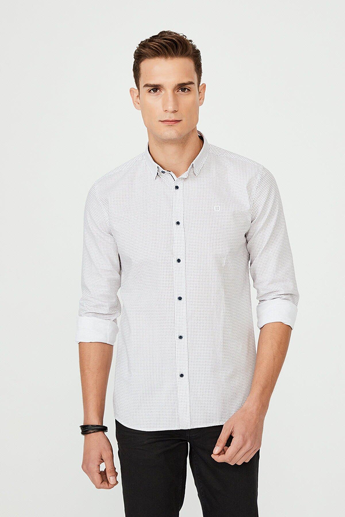 Avva Baskılı Alttan Britli Yaka Slim Fit Gömlek