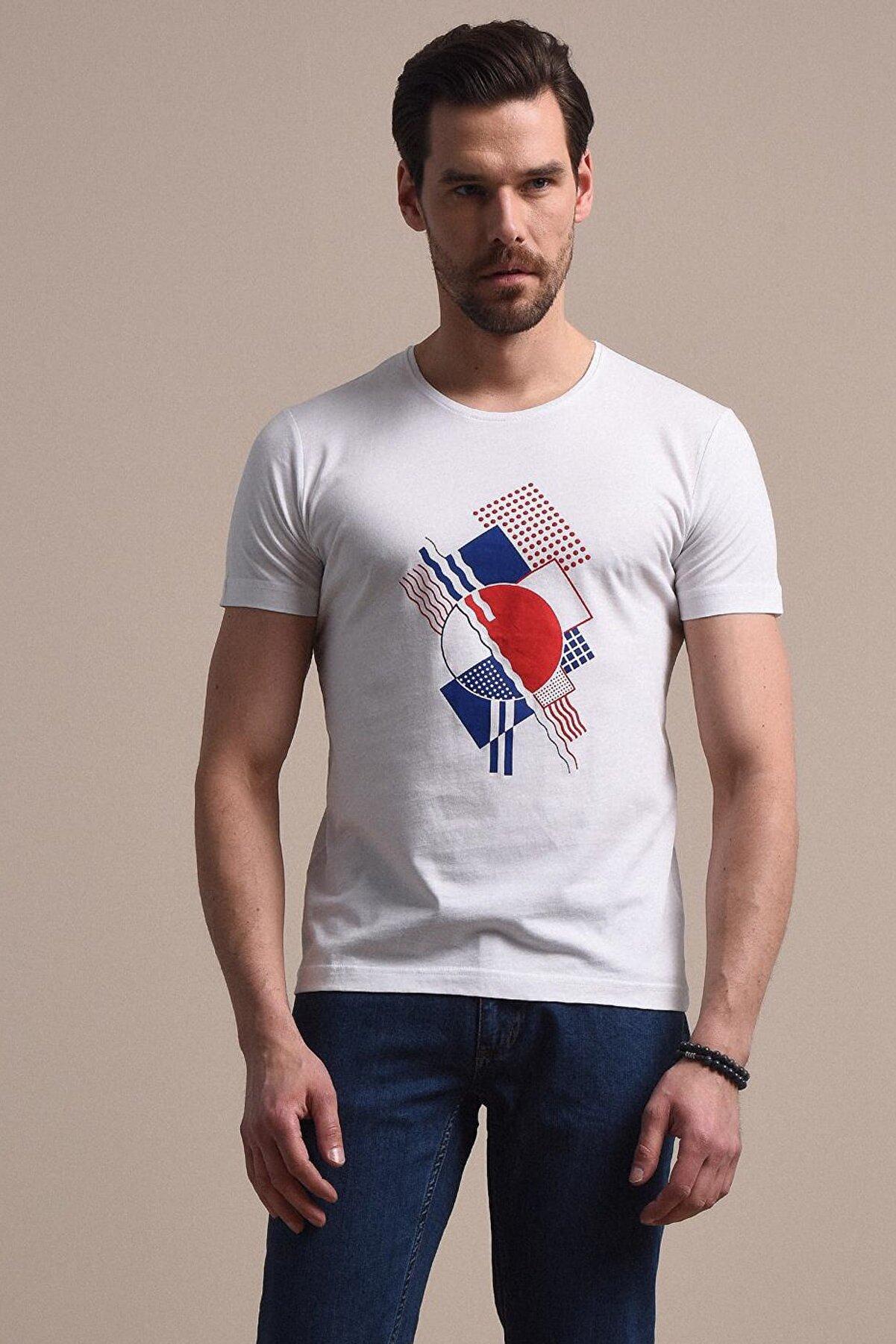 Kip Erkek Beyaz Baskılı Örme T - Shirt KP10120481
