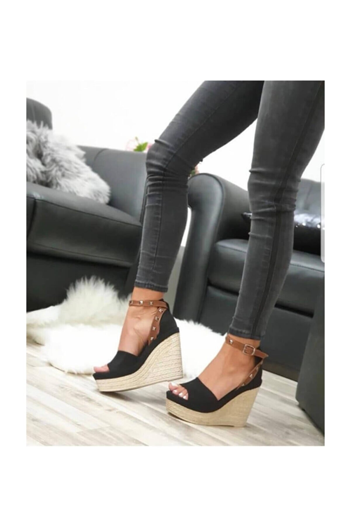 Shoe Miss Emma Siyah Dolgu Topuk