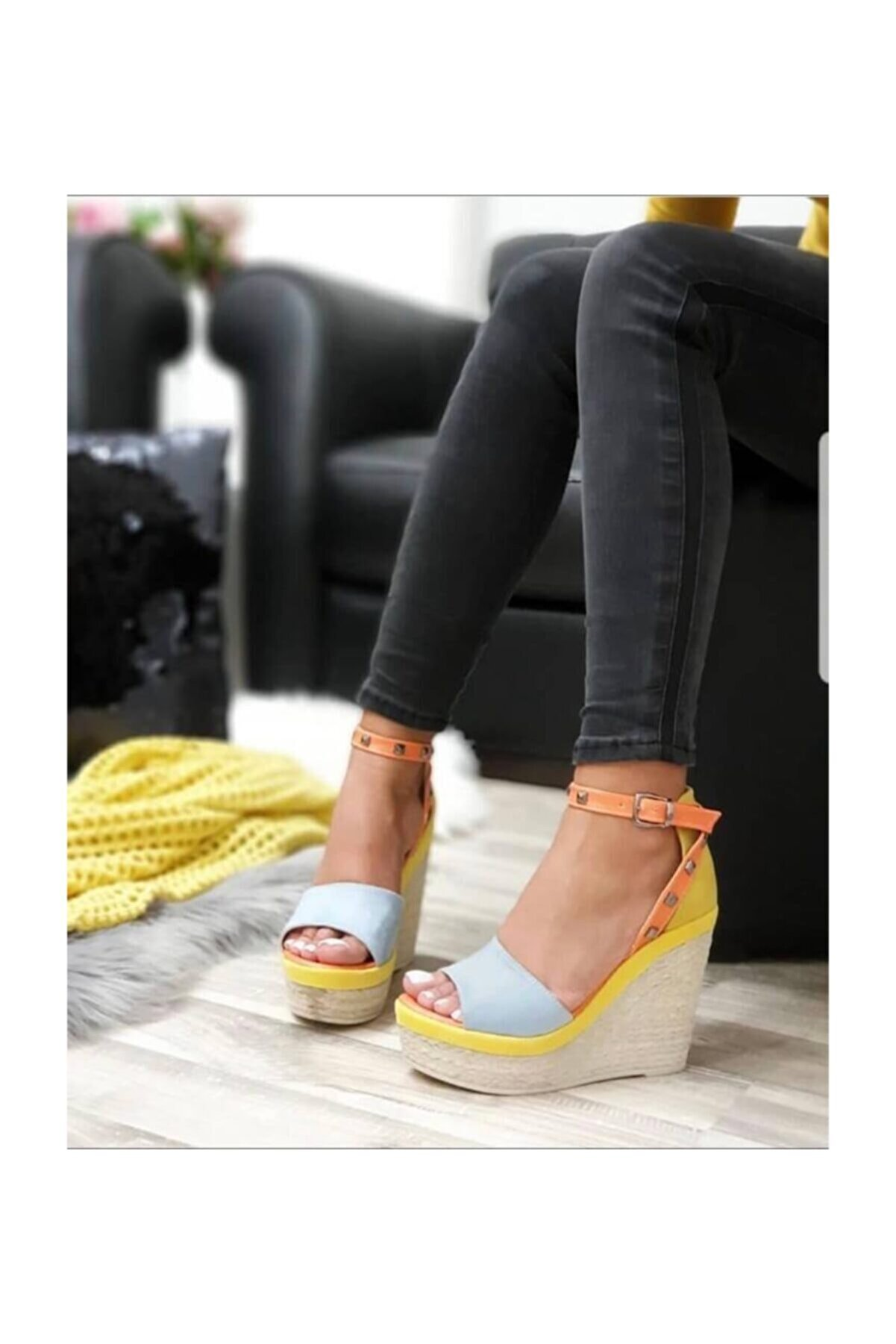 Shoe Miss Emma Bebe Mavi Dolgu Topuk