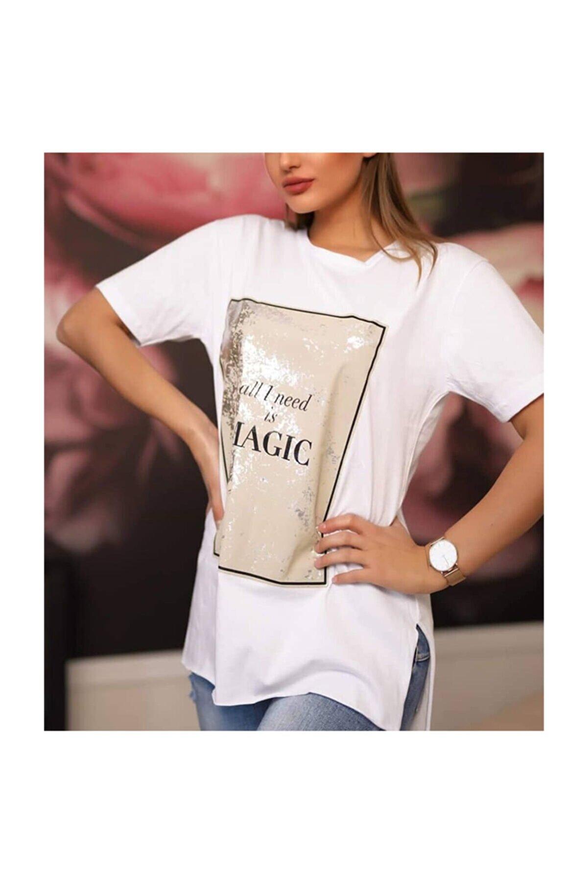Suanye Beyaz Pano Varak Baskılı Tshirt
