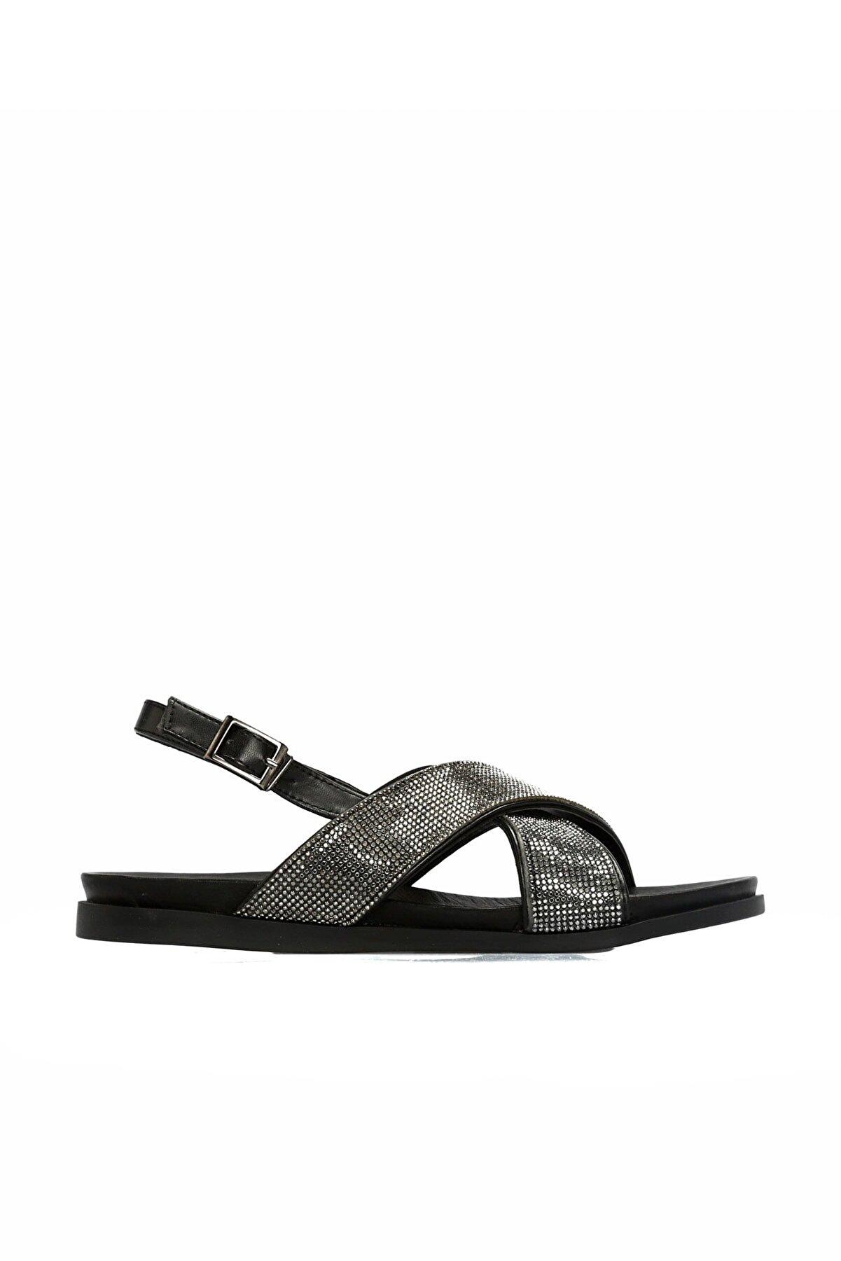 Divarese Taşlı Siyah Antrasit Sandalet