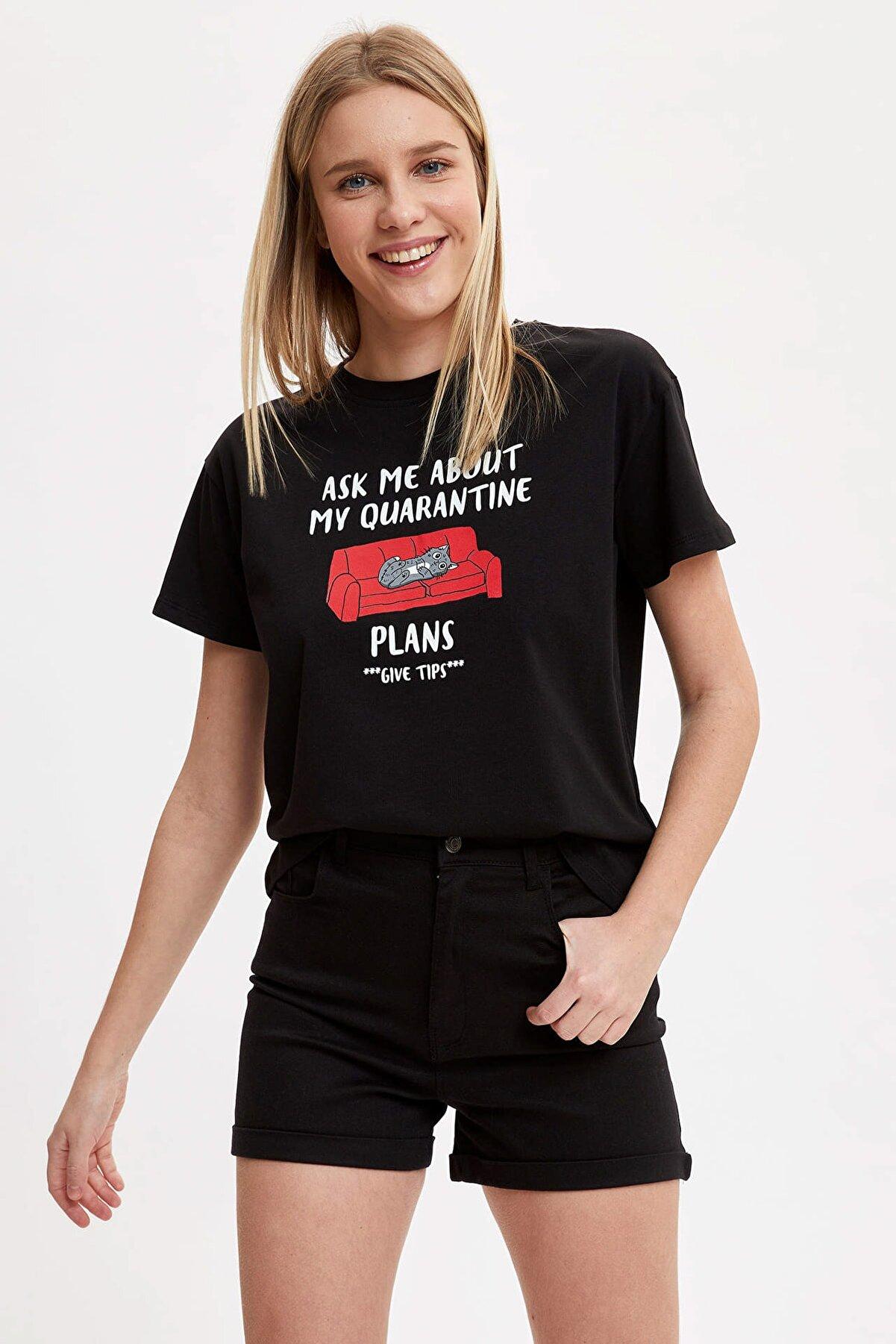 Defacto Slogan Baskılı Relax Fit Pamuklu Kısa Kollu Tişört