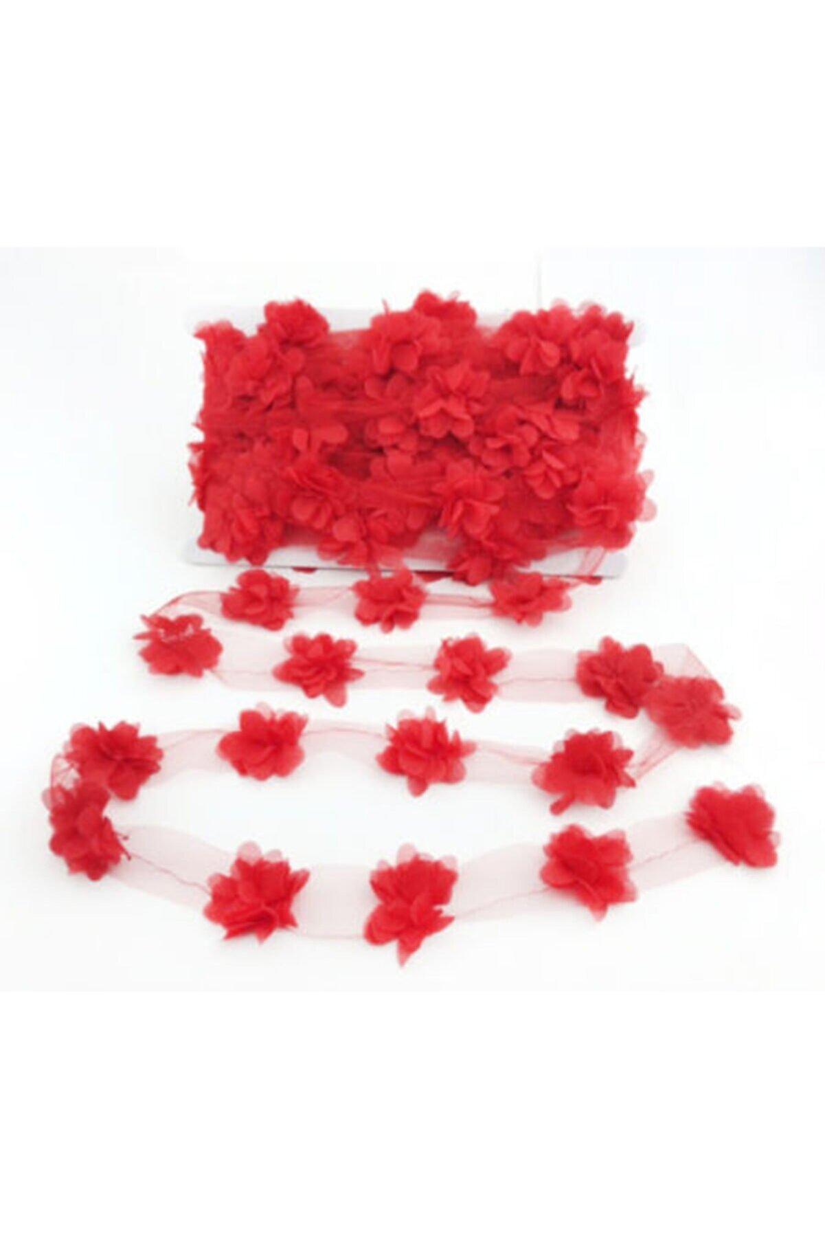 BalonEvi Kırmızı Lazer Kesim Çiçek Tül 4 Metre
