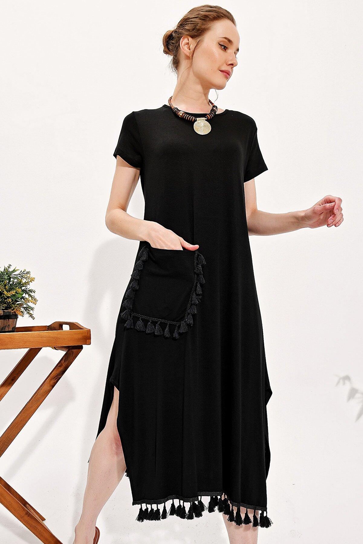 Trend Alaçatı Stili Kadın Siyah Eteği Püskül Detaylı Salaş Elbise Alc-X4313