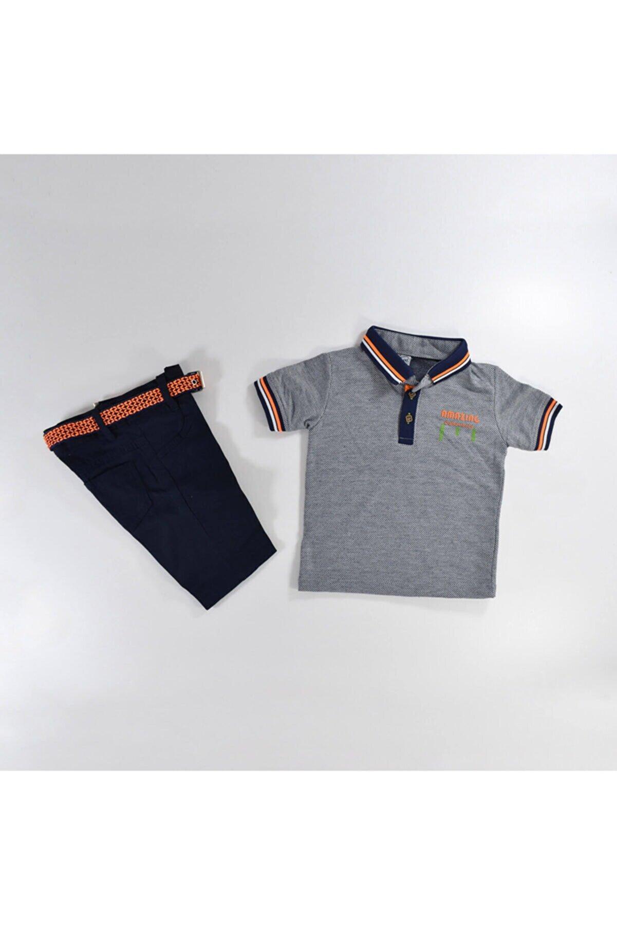 Mersevkids Erkek Çocuk Gri Lacivert Çizgili Tişört Kemerli Pantolon Takım 1-4 Yaş