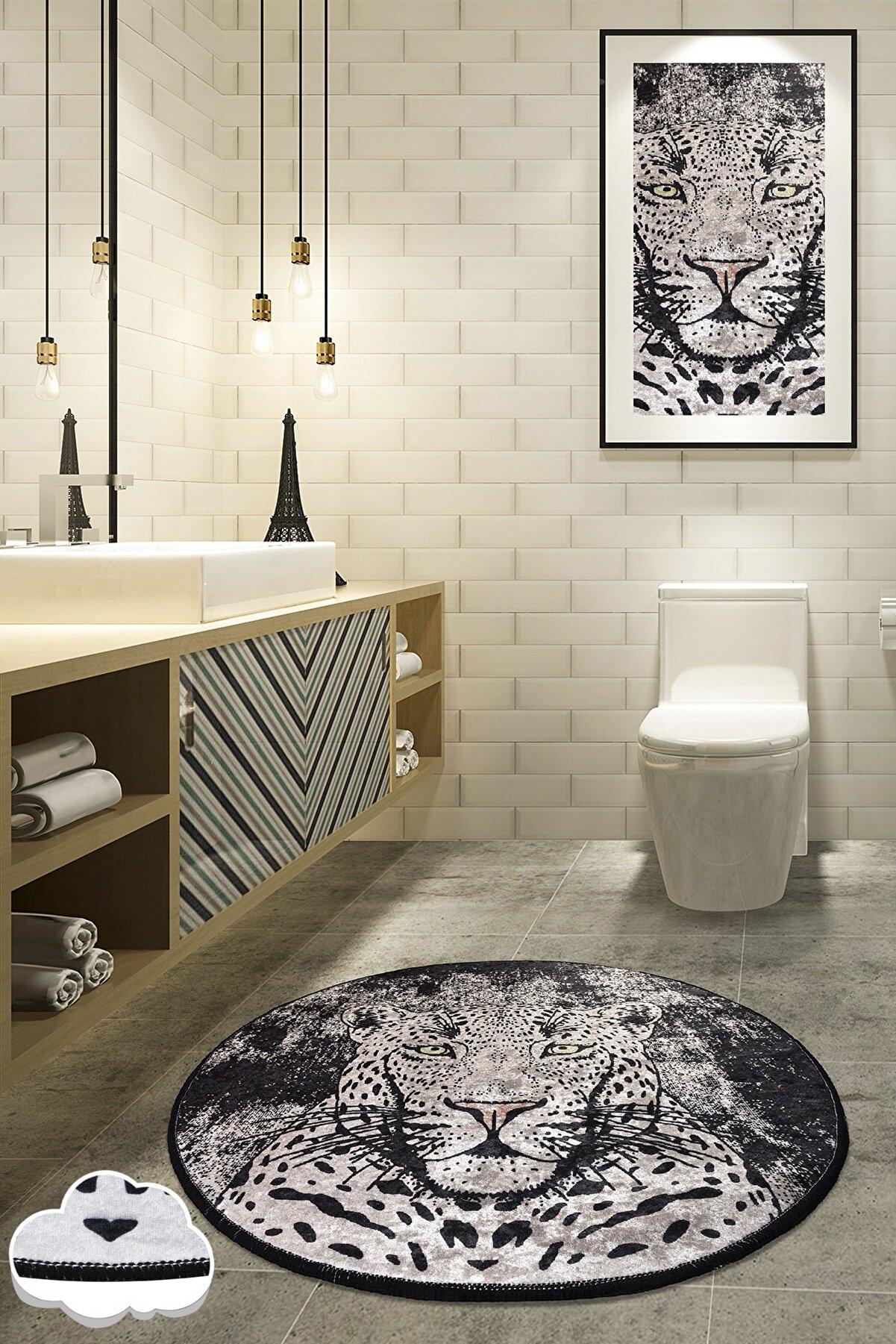 Chilai Home Tıger Djt Çap 100 Cm Banyo Halısı