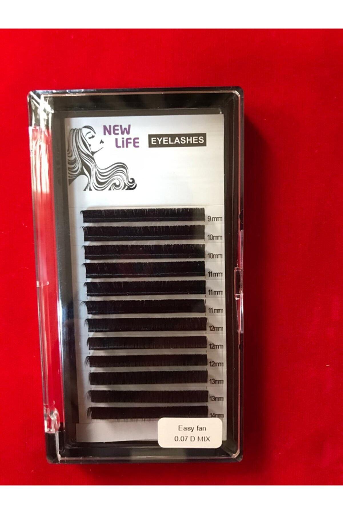 New Life Kolay Volume Ipek Kirpik D Kıvrım 0,07 Kalınlık Mix Kutu - (9-10-11-12-13-14mm Uzunluk Aynı Kutuda)