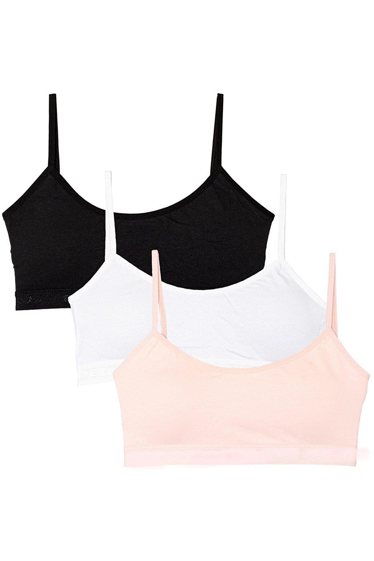 ld lidya underwear Kadın Renkli 3 Lü Ip Askılı Pedli Yarım Atlet