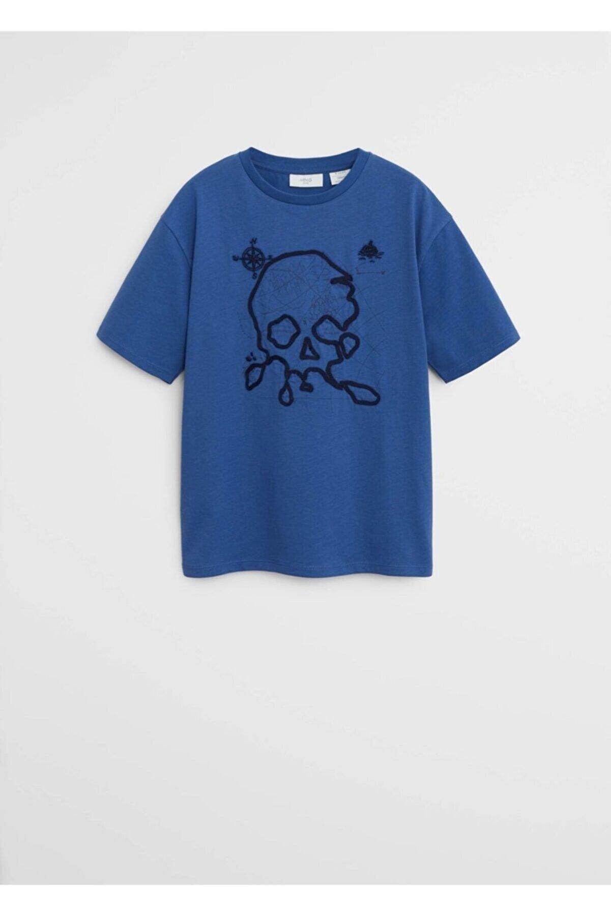 Mango Erkek Çocuk Mavi İşleme Detaylı Tişört