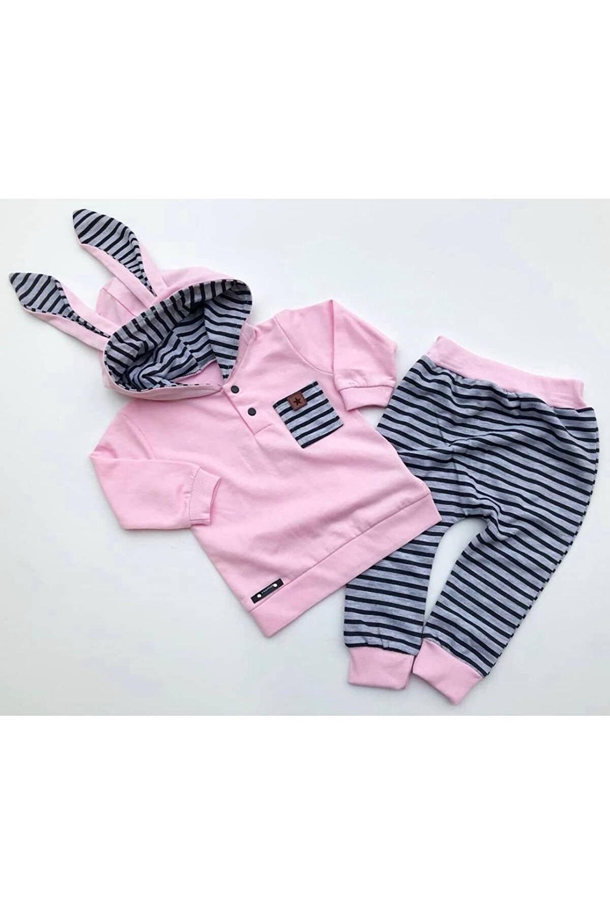 Beren Kids Tavşan Kulaklı Tatlı Kapşonlu Bebek Alt Üst Takım