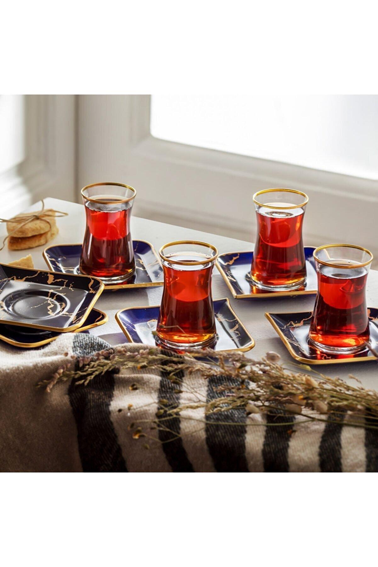 Karaca Damla Lacivert 12 Parça 6 Kişilik Çay Seti