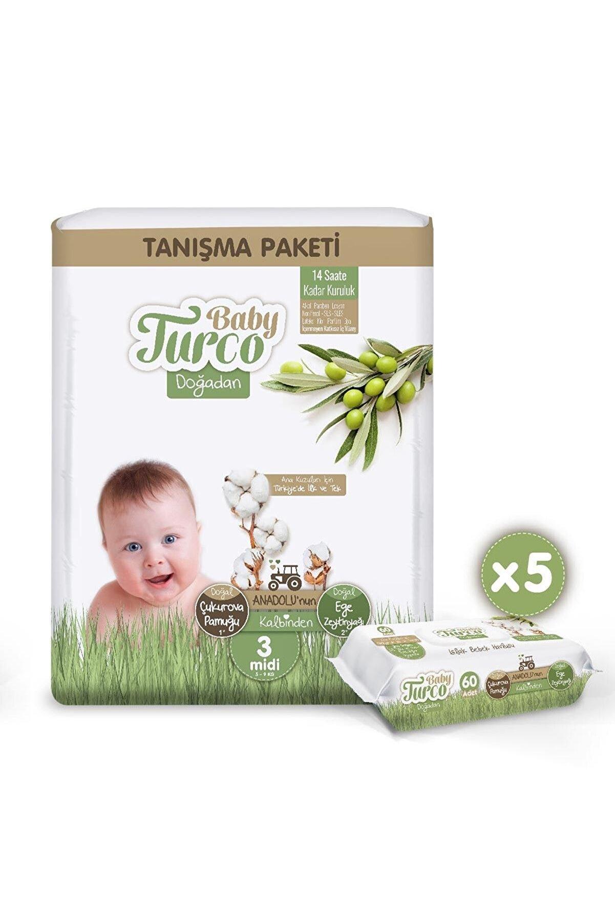 Baby Turco Doğadan Tanışma Paketi 3 Numara Midi 17 Adet + 5x60 Doğadan Islak Havlu