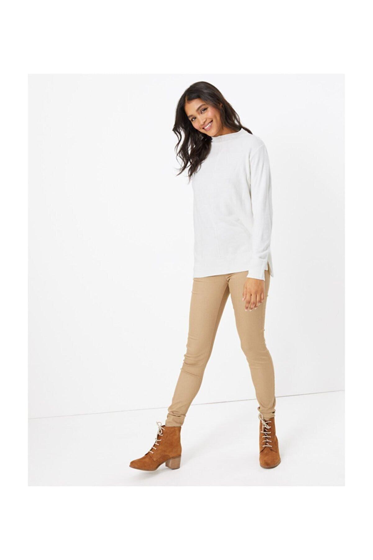 Marks & Spencer Kadın Kahverengi Yüksek Belli Jegging Pantolon T57008604