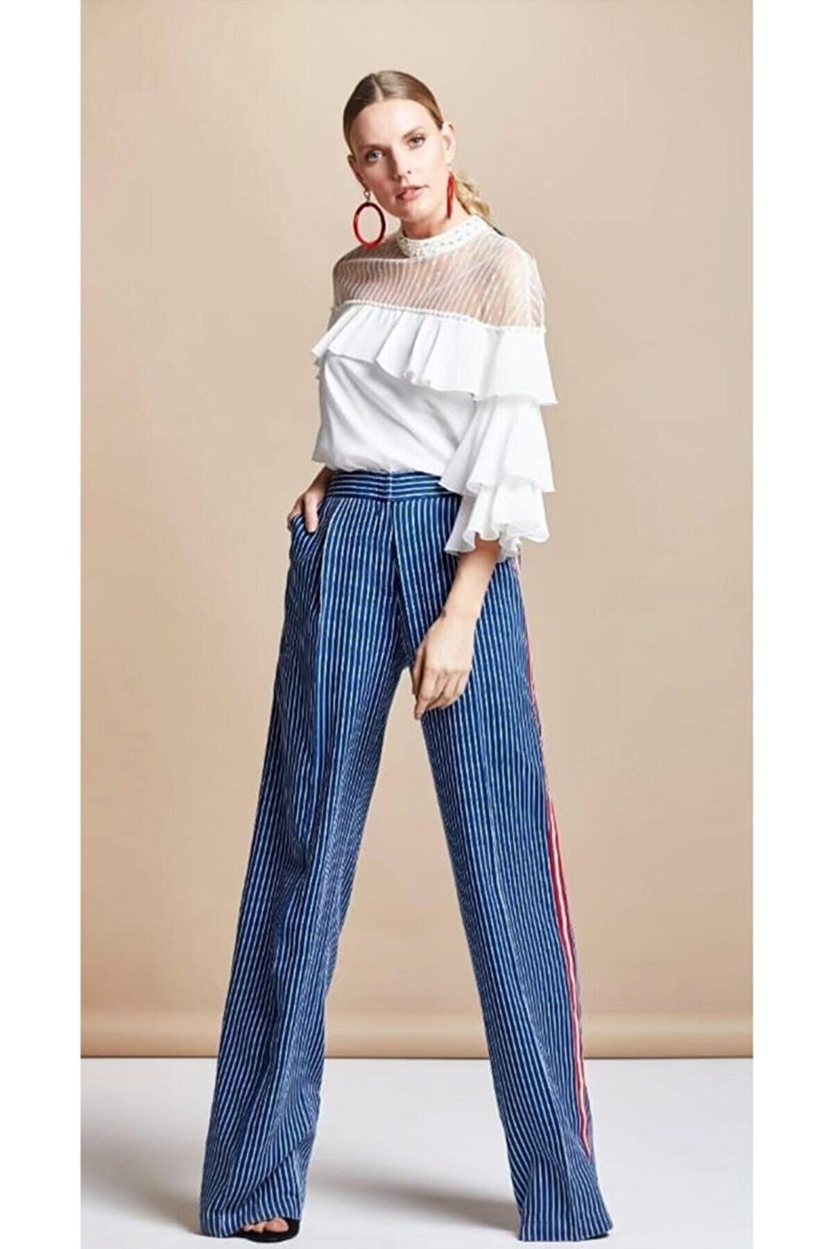 Serpil Kadın Lacivert Çizgili Pantalon