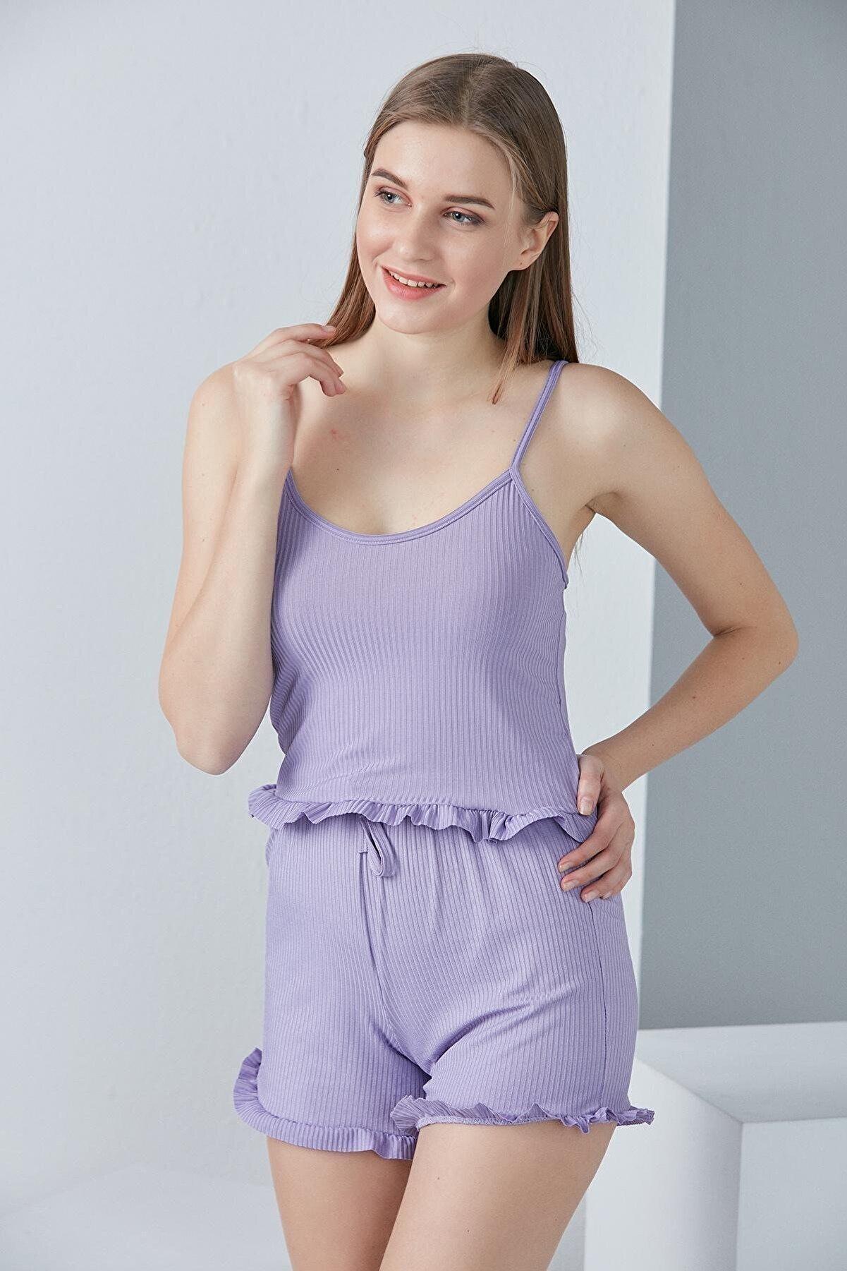 HAKKE Kadın Lila Askılı Fırfır Detaylı Örme Pijama Takımı