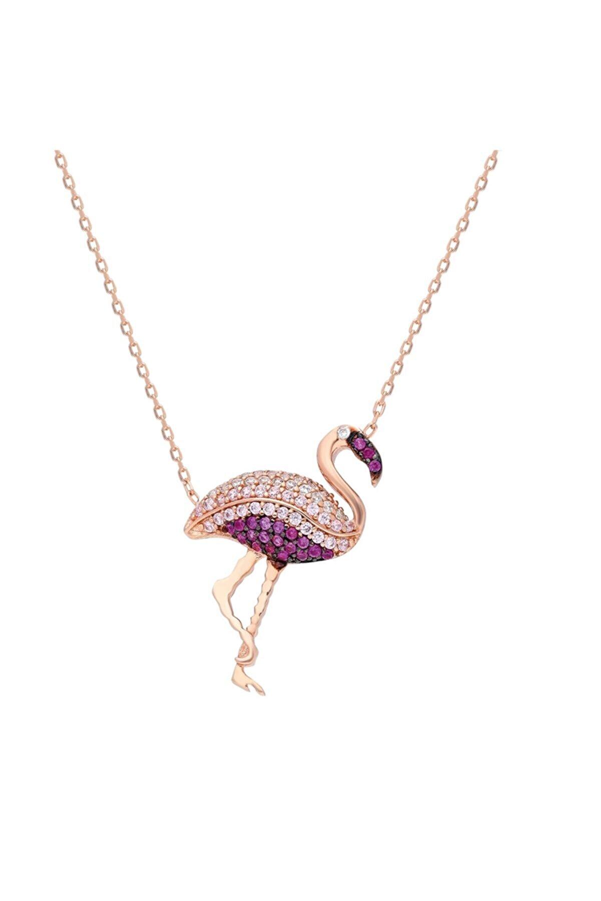 Chavin Kadın Pembe Altın Flamingo Zirkon Taşlı Gümüş Kolye Dz49rs
