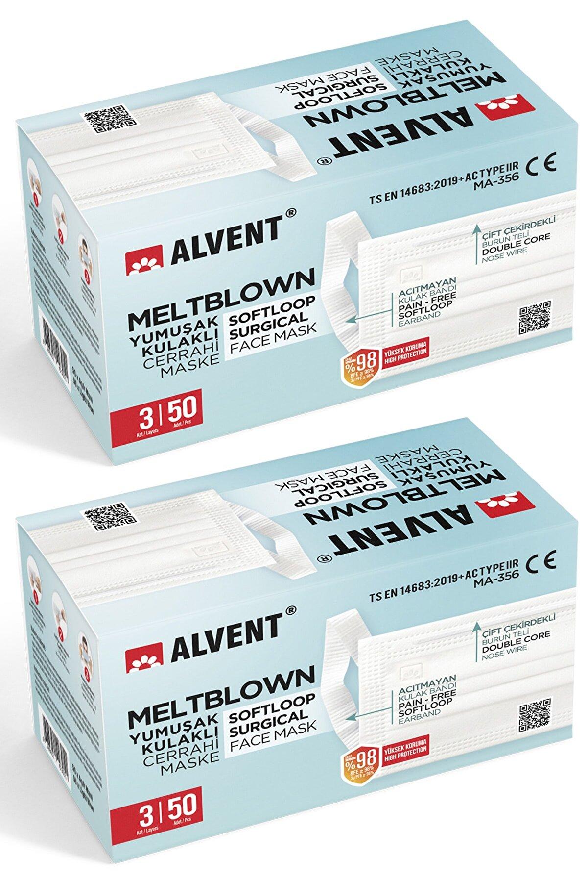 ALVENT Yumuşak Kulaklı Meltblown Maske 100 Adet - Tıp2r - ( En Az %98 Koruma - Sertifikalı ) - Beyaz