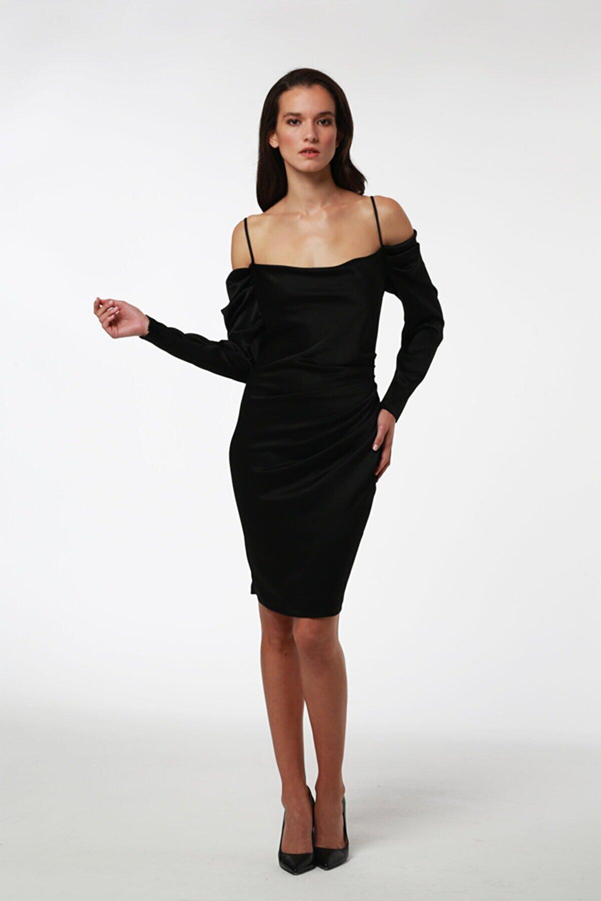 Tara Coşkuntuncel Siyah Drape Detaylı Elbise