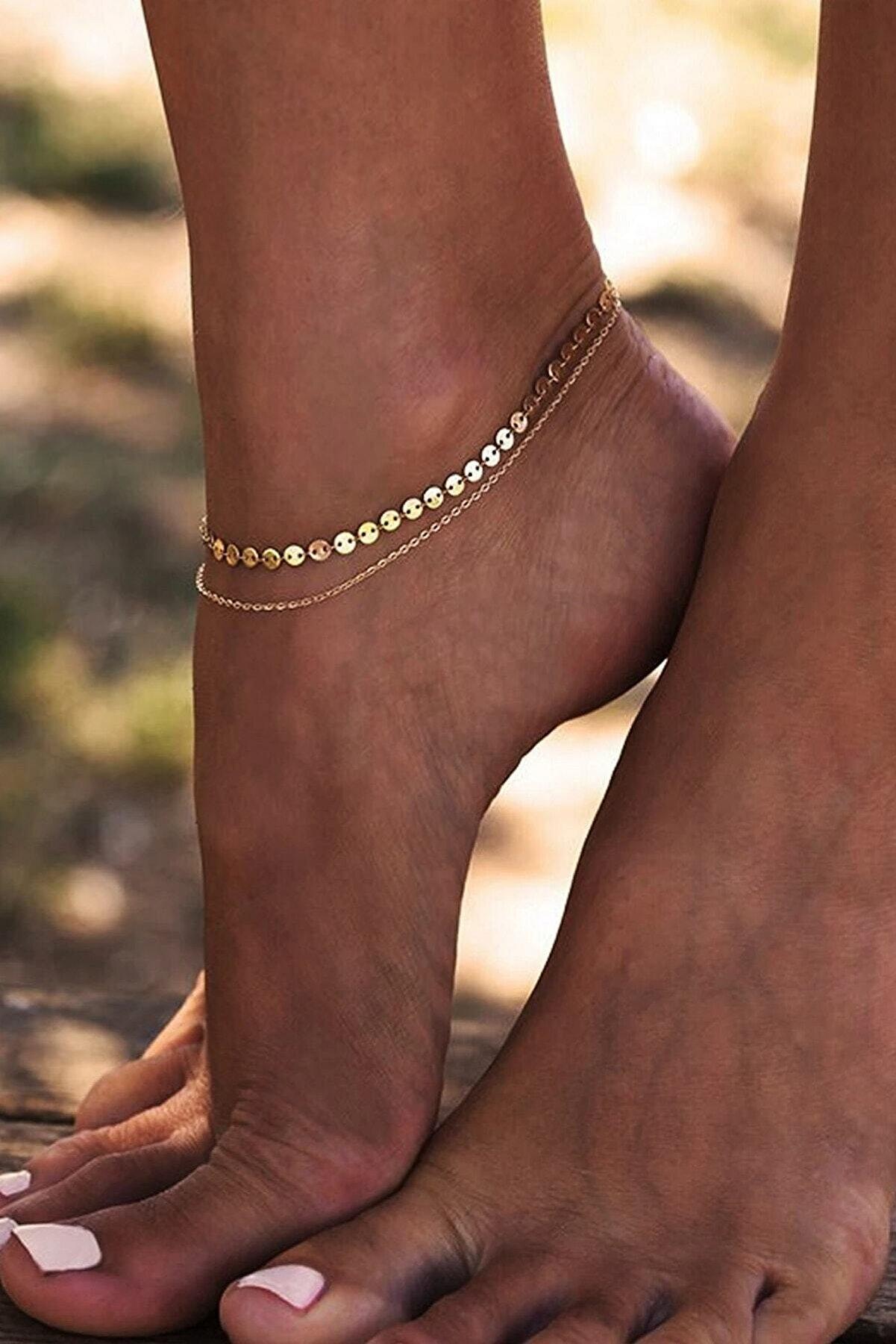 X-Lady Accessories Shine Minik Pullu Zincir 2'li Halhal Gold