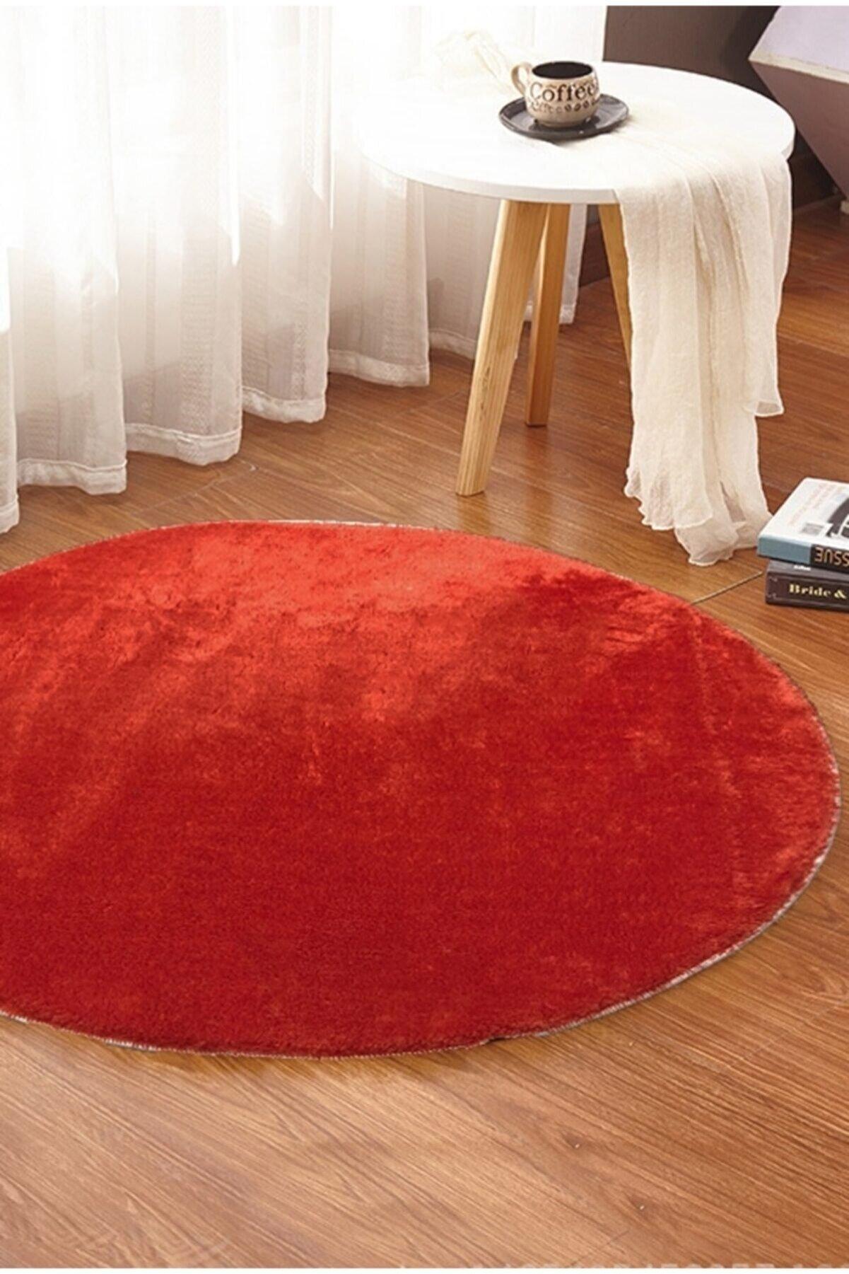 Sarar - Yuvarlak Düz Renk Peluş Pofuduk Kaydırmaz Jel Taban Kırmızı Renk Halı