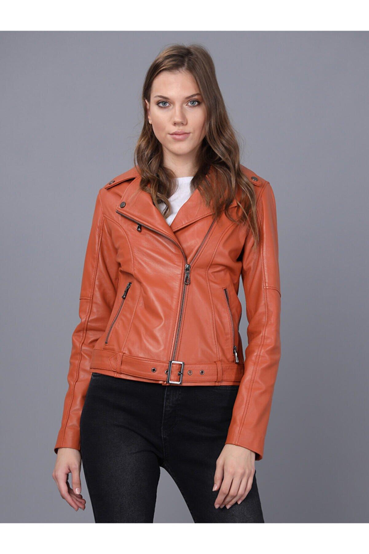 Basics&More Kadın Turuncu Deri Ceket