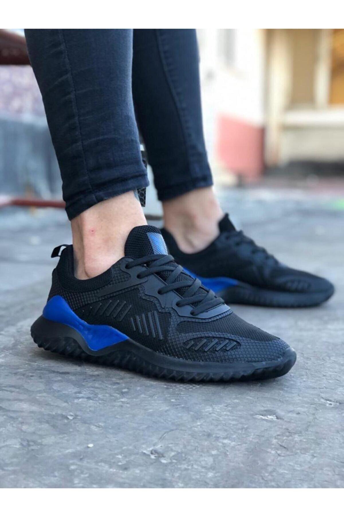 Odal Shoes Unisex  Siyah-saks Sneaker Spor Ayakkabı Takax0132