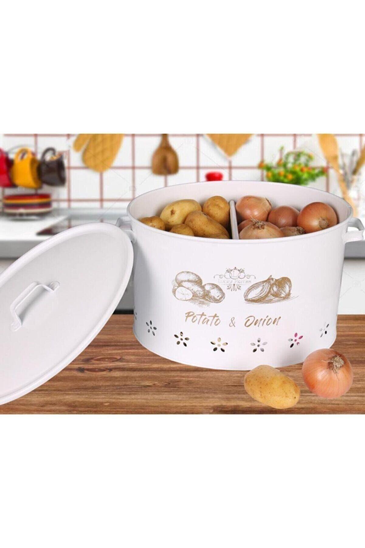 AP STORE 2 Bölmeli Metal Patates Soğan Kovası Beyaz 18 Lt Soğanlık-patates-beyaz