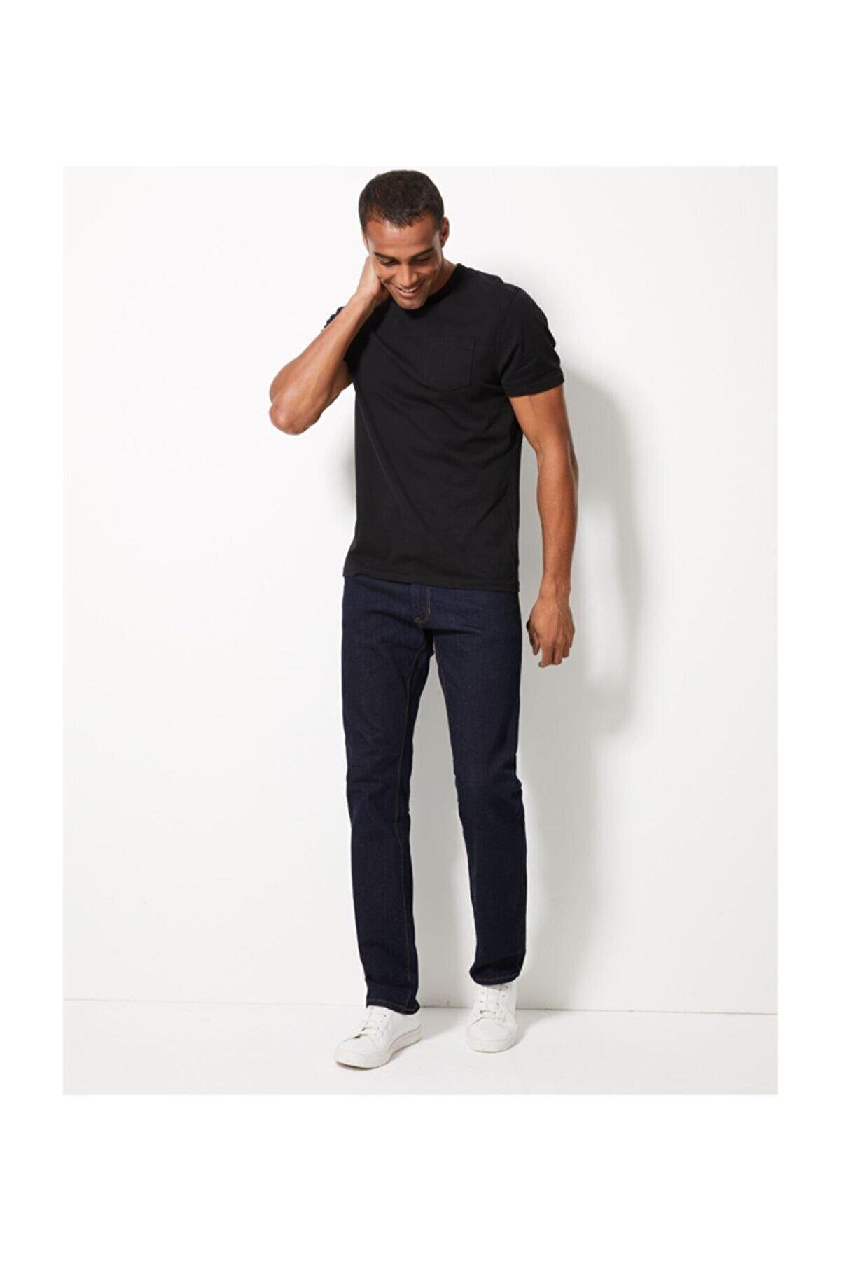 Marks & Spencer Erkek Mor Straight Fit Streç Jean Pantolon T17001616M