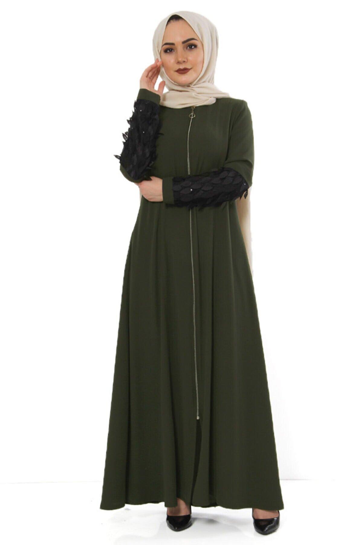 Tesettür Dünyası Kol Detaylı Büyük Beden Elbise Tsd2409 Haki