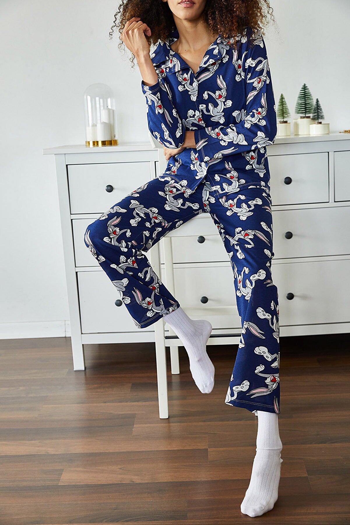 Xena Kadın Lacivert Tavşan Baskılı Örme Pijama Takımı 1KZK8-11024-77